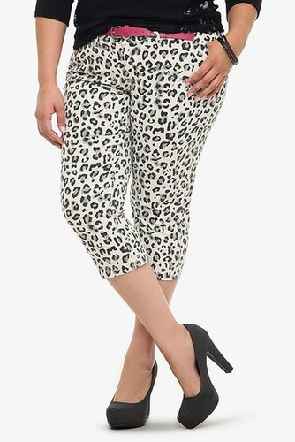 Torrid Denim - White Leopard Belted Capri Trouser