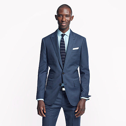 Ludlow peak lapel suit jacket with double vent in heathered Italian wool