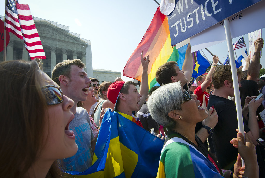 Activists celebrated the US Supreme Court's actions on gay marriage in Washington DC on Wednesday.