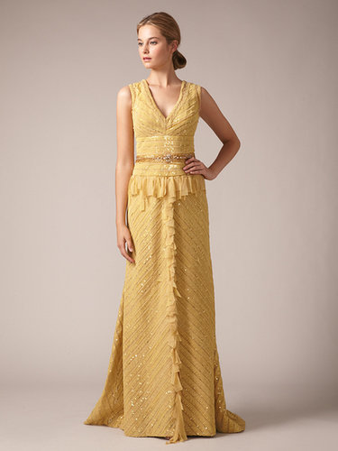 Mesh Sequin Embroidered Chevron Panel Gown
