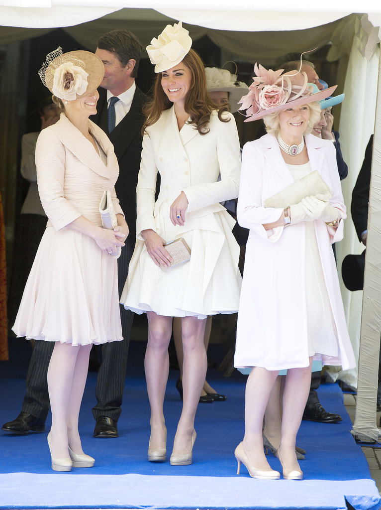 Kate Middleton chatted with Camilla, Duchess of Cornwall, and Sophie Rhys-Jones at the Order of the Garter service at St. George's Chapel in Windsor back in June 2011.