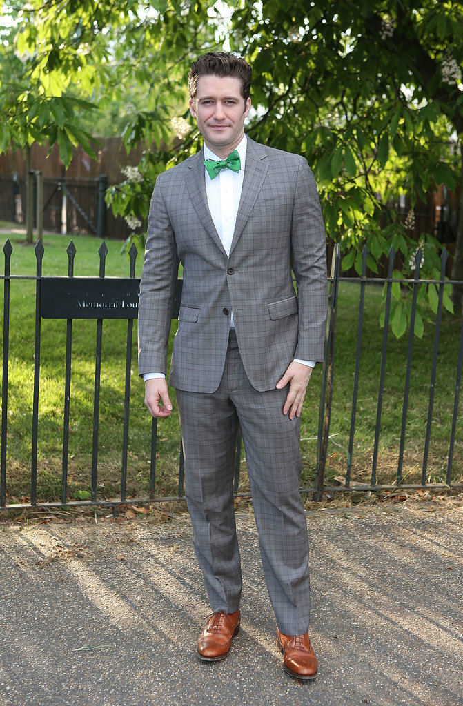 Matthew Morrison wore a brightly colored bow tie and a gray suit.