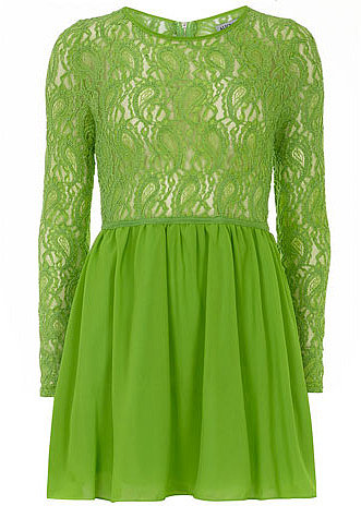 Green sleeved lace top skater