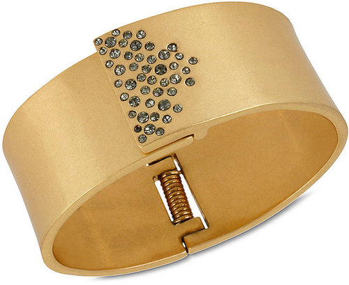 Kenneth Cole New York Bracelet, Gold-Tone Glass Pave Bangle Bracelet