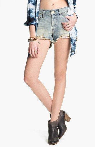 Levi's Destroyed High Waisted High/Low Denim Cutoffs (Juniors)