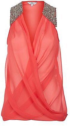 Coral Embellished Shoulder Wrap Top