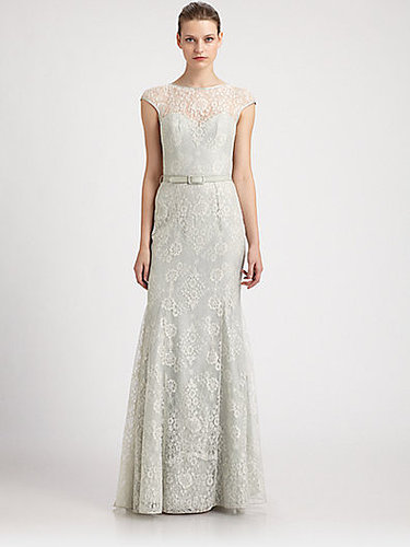 Theia Lace Fit-And-Flare Gown