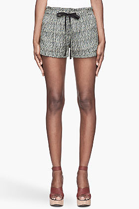 EDUN Teal and green African Sun Print Jacquard Pleated Shorts