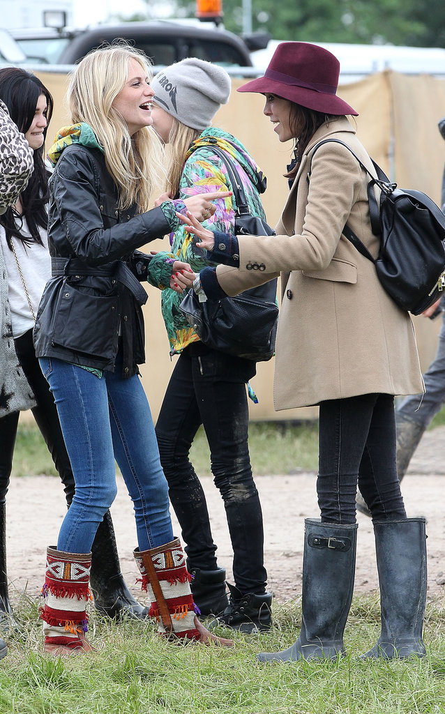 Alexa Chung, Cara Delevingne, Poppy Delevingne, and Pixie Geldof met up at Glastonbury.