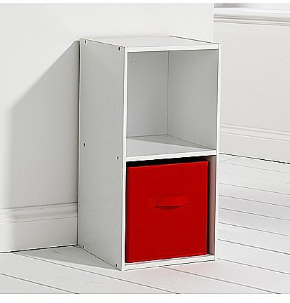 White 2 Cube Unit With Red Canvas Drawer