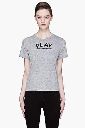 COMME DES GARÇONS PLAY Heather Black signature Emblem T-Shirt