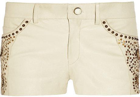 Isabel Marant Devin embellished stretch-leather shorts