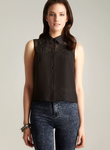 Ali & Kris Floral Applique Chiffon Button Down
