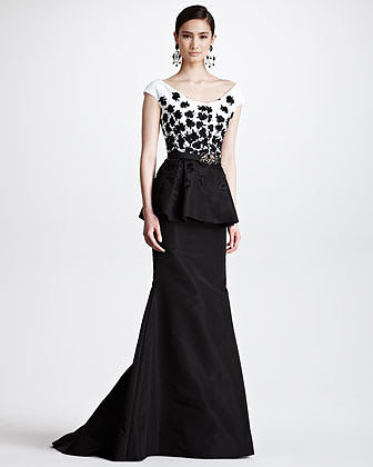 Oscar de la Renta Floral Embroidered Peplum Gown, Black/White