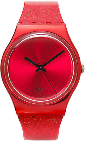 Swatch Watch, Unisex Swiss Intense Red Glitter Red Silicone Strap 34mm GS160