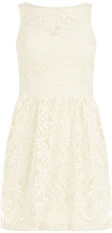 Petite lace sweetheart dress