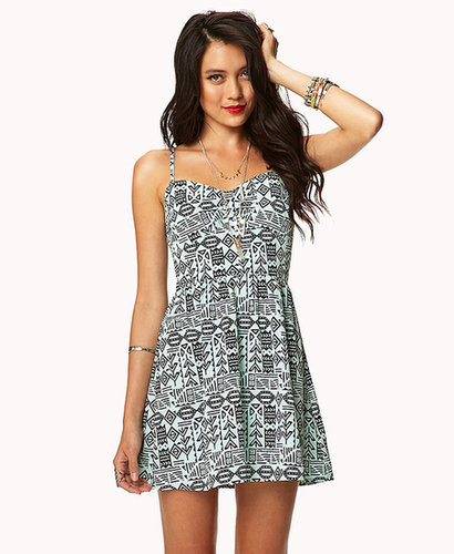 FOREVER 21 Tribal-Inspired Sweetheart Dress
