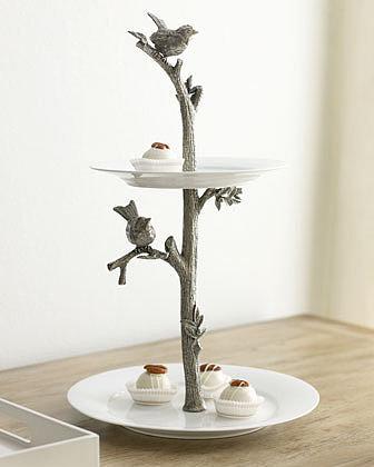 """Vagabond House """"Bird"""" Two-Tier Dessert Stand"""