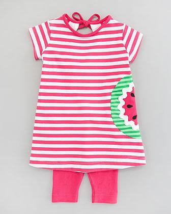 Florence Eiseman Watermelon Striped Knit Tunic & Leggings Set, 12-24 Months