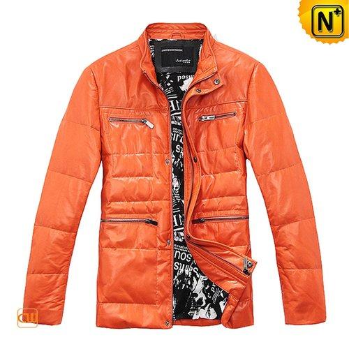 Men Leather Down Jacket Orange CW866879 - cwmalls.com