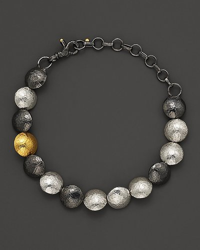 "Gurhan Pure Silver And 24 Kt. Gold ""Lentil"" Bracelet"