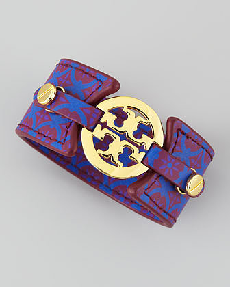 Tory Burch Logo Double-Snap Cuff, Purple