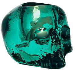 """Kosta Boda Green """"Still Life"""" Skull Candleholder"""