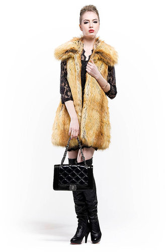 cheap quality fashion yellowish faux fur collar long coat for sale free shipping