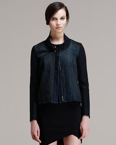 HELMUT Helmut Lang Phantom Contrast-Sleeve Denim Jacket