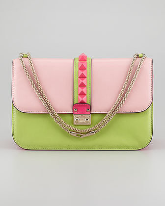Valentino Glam Lock Small Bag, Light Pink/Green