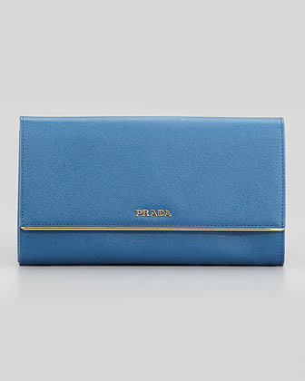 Prada Full Flap Continental Wallet & Organizer, Bright Blue