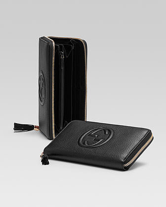 Gucci Soho Leather Zip-Around Wallet, Black