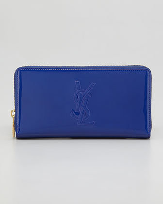 Saint Laurent Belle du Jour Zip Wallet, Blue