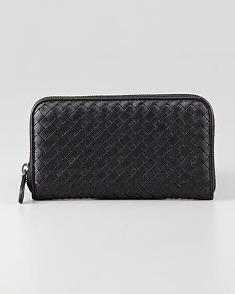 Bottega Veneta Continental Zip-Around Wallet, Black