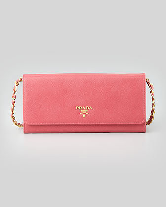 Prada Saffiano Wallet on a Chain, Pink