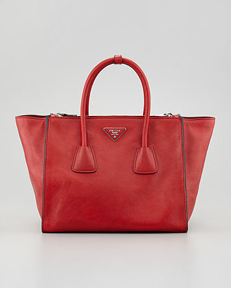 Prada Glace Calf Twin Pocket Tote Bag, Red