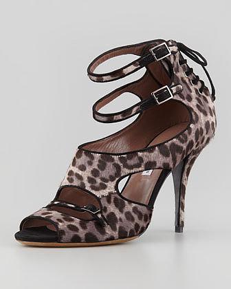 Tabitha Simmons Bailey Double-Wrap Leopard-Print Calf Hair Sandal