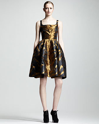 Lanvin Tiger-Jacquard Full-Skirt Dress