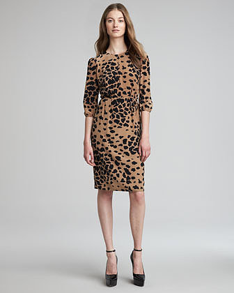 Burberry London Animal-Print Silk Dress, Camel