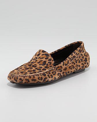 Manolo Blahnik Mocc Leopard-Print Suede Driver