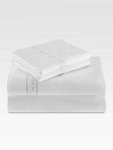 Natori Ming Fretwork Fitted Sheet/White