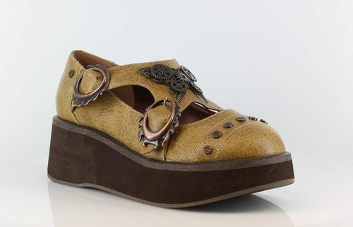 """Hades Shoes H-Franks Lab, Womens 1.25"""" to 2"""" Wedge Platform Steampunk flats:Satin-Boutique.com"""