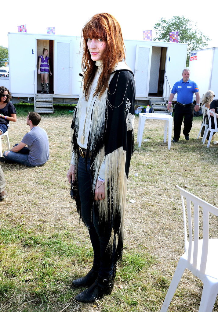 Even off stage, Florence Welch looked every part the rock star in a fringed jacket.