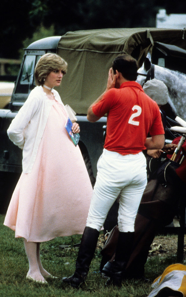A very pregnant Princess Diana chatted with Prince Charles during a polo event in Windsor in June 1982.