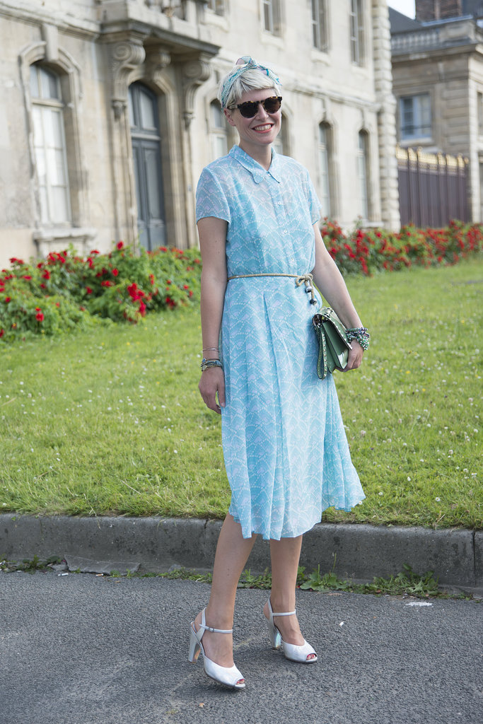 Short sleeves and a defined waist made Elisa Nalin's knee-length dress feel sweetly retro.