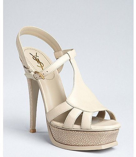 Yves Saint Laurent rope brown leather and stingray 'Tribute 105' platform sandals