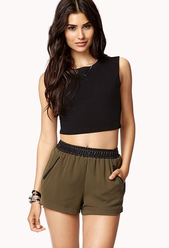 FOREVER 21 Faux Leather Trimmed Shorts