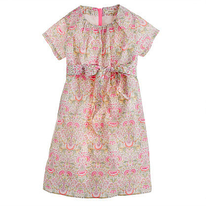 Girls' Liberty short-sleeve dress in Lodden paisley