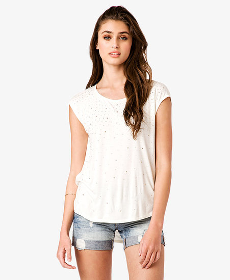 FOREVER 21 Graduated Stud Cap Sleeve Top