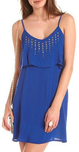Studded Ruffle Tank Dress